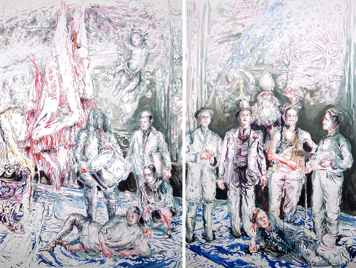 Chapter 2 Surrounded-by-Artists-and-Professors,-ink-on-paper,-200-x-260-cm