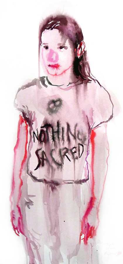 Nothing sacred<br />  Tusche auf papier / ink on paper<br />  50 x 24 cm